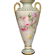 Willets Belleek tall hand painted roses handled vase urn artist signed dated 1903