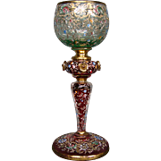 Moser tall intricately enameled art glass water goblet unusual two colors combination