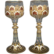 Moser art glass thickly enameled goblets gold flowers roses shells