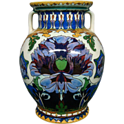 Rozenburg art pottery double handled vase colorful flowers