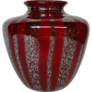 Nash rare red chintz decorated art glass vase classic shouldered form