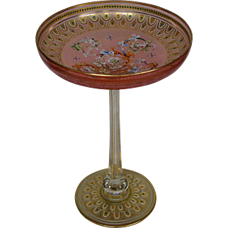 Moser tall enameled acanthus leaf art glass gilded tazza compote late 1800's