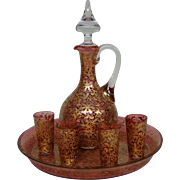 Moser enamel gilt platinum art glass cranberry decanter liquor cruet set tray liquors signed