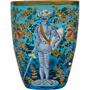 Moser rare blue enameled spa glass knight in armor pictured in book