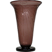 Schneider art deco French cameo glass tall vase Ovington