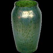 Loetz papillon green oil spot art glass large vase