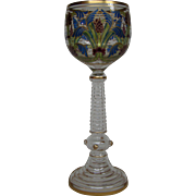 Theresienthal Bohemian art glass tall enameled floral goblet