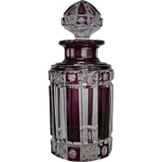 Antique French amethyst cut to clear glass perfume bottle