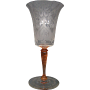 Steuben clear and rosa tall Van Dyke etched pattern water goblet signed