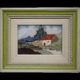Italian pietra dura plaque landscape scenic original frame