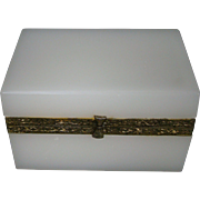 White opaline glass casket hinged dresser or jewelry box