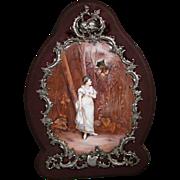 Antique Austrian enamel screen silver frame woman on path with man