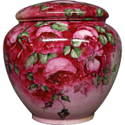 GDA Limoges hand painted roses covered jar or humidor