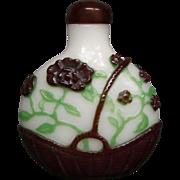 Peking cameo glass snuff bottle basket of flowers unusual design