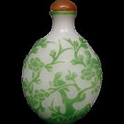 Peking cameo glass snuff bottle jade alabaster stork pagoda birds