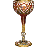 Moser cranberry islamic pattern heavily enameled gilded tall water goblet