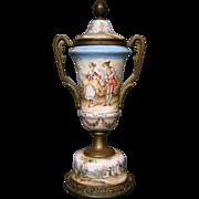 Antique enamel covered urn vase courting scene pastoral setting