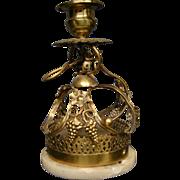 Antique brass marble push bell servant call candlestick