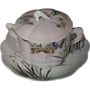 Japanese sharkskin coralene porcelain signed covered cup saucer irises butterflies