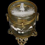 Mary Gregory Victorian enameled glass dresser jar box brass ormolu ring handles