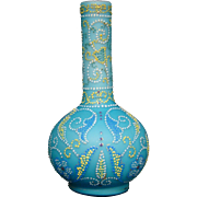 Victorian enameled art glass vase Persian influence pointalism
