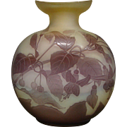 Galle French cameo glass pilgrim flask vase fuschia flowers signed