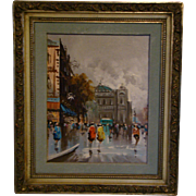 Andrea de Vity French impressionist street scene Paris oil painting