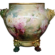 Jean Pouyat Limoges hand painted roses huge elephant handle jardiniere artist signed EL Jenkins
