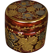 Moser cranberry gilded platinum enameled miniature art glass covered box signed
