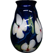 Charles Lotton multi flora cobalt blue white flowers art glass vase signed dated 1979