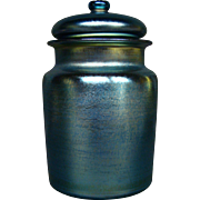Tiffany blue favrile art glass rare covered humidor jar signed