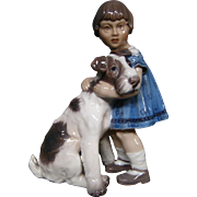 Dahl Jensen DJ Copenhagen girl with dog fox terrier figurine 1085