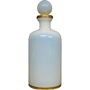 White opaline glass perfume bottle gilded mounts