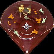 Moser cranberry enameled art glass bi fold dish bowl birds leaves berries