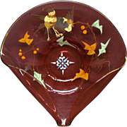 Moser cranberry enameled art glass bi fold dish bowl birds leaves berries