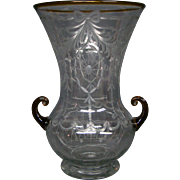 Pairpoint etched glass handled vase rare Waterford pattern