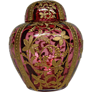 Moser cranberry ruby heavily gilded rare art glass covered ginger jar