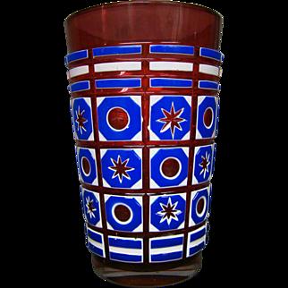 Bohemian triple overlay art glass vase stars and bullseyes