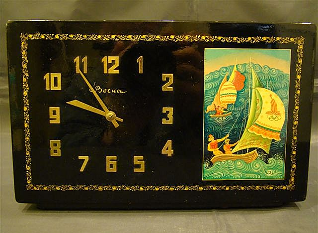 Russian lacquer box clock Mstera