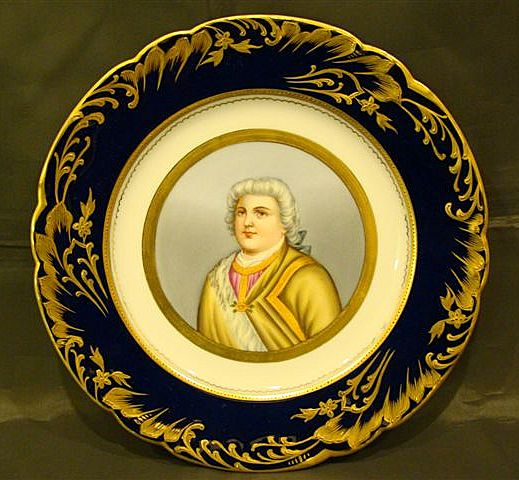 French porcelain Sevres style male portrait plate