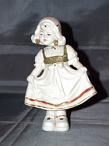 German bisque Dutch girl double nodder figurine