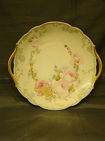 Limoges T&V hand painted roses handled cake plate