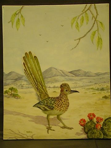 Painting on porcelain road runner in desert