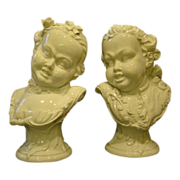 German large pair white porcelain boy and girl busts after Bustelli