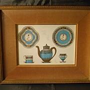 Sevres porcelain pair of shadowbox framed prints lithographs
