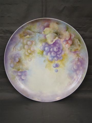 Hand painted large grapes charger artist signed