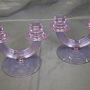 Fostoria Wisteria pair #2447 double candlesticks alexandrite