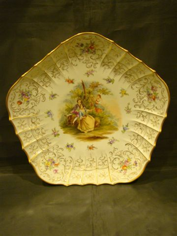 Dresden large hand painted portrait charger with courting scene