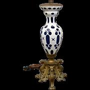 Bohemian cobalt cut overlay bronze griffin lamp