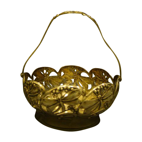 WMF silverplate art nouveau dragonfly handled basket